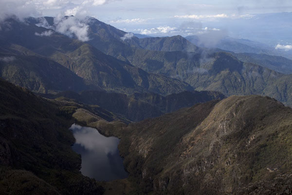 View from Kiondo hut over Lac Noir and the lower Rwenzori mountains | Montagne Rwenzori | Rep. Democratica del Congo