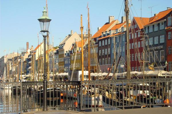 Picture of Copenhagen Waterfront (Denmark): Copenhagen: masts in Nyhavn