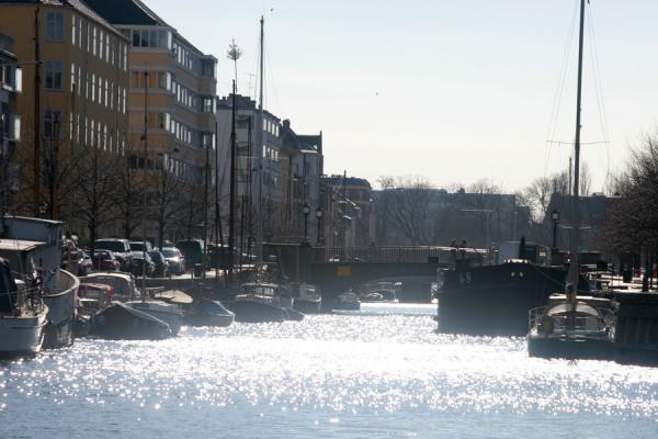 Picture of Copenhagen Waterfront (Denmark): Copenhagen: sun reflected on water in canal