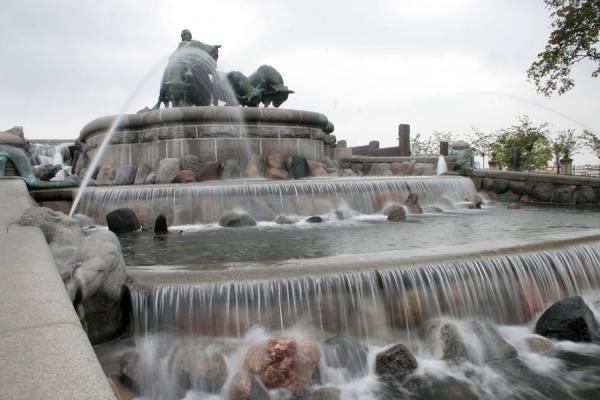 Picture of Gefion fountain (Denmark): Gefion fountain with small waterfalls seen from below