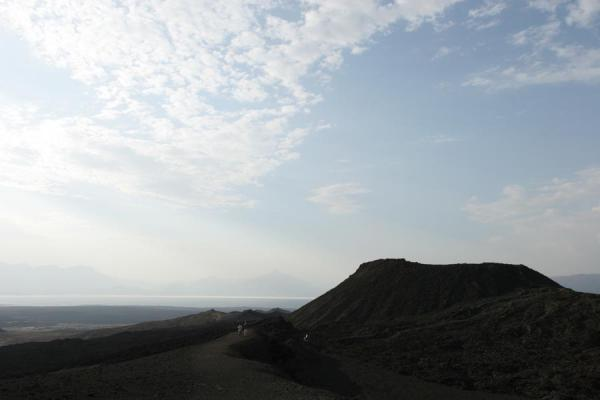Picture of Ardoukoba Volcano: crater with Lac Assal in the background