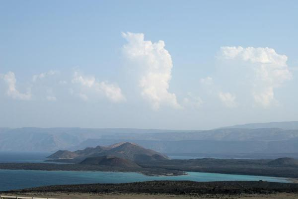 Bay of Ghoubbet and lavafields seen on the way to Ardoukoba Volcano | Ardoukoba Volcano | Djibouti