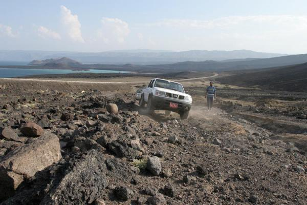 Driving up to Ardoukoba Volcano with Bay of Ghoubbet in the background | Volcan Ardoukoba | Djibouti