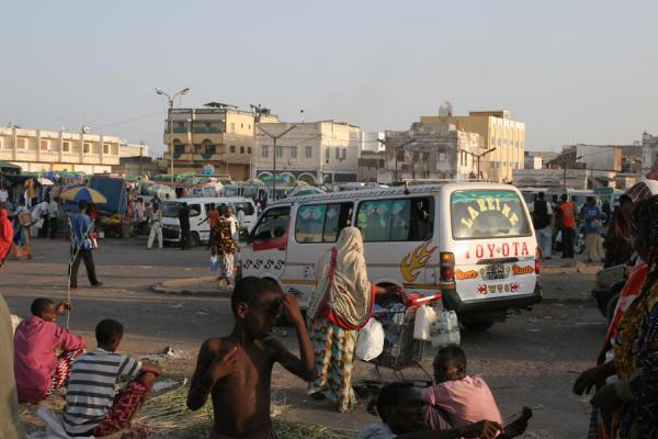 Mahamoud Harbi or Arthur Rimbaud square with chaotic bus station and central market | Djibouti town | Djibouti