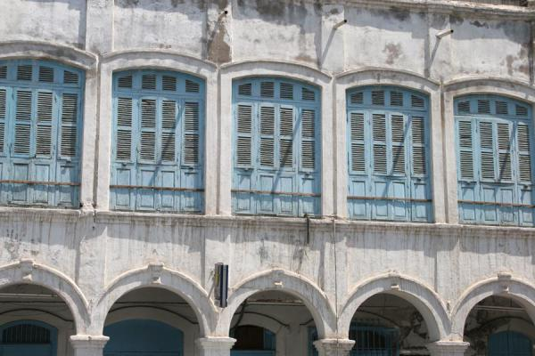 Close-up of windows in houses on Avenue 13 | Djibouti town | Djibouti