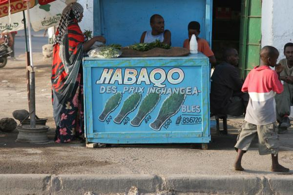 Picture of Selling qat in the streets of the African quarter of Djibouti town