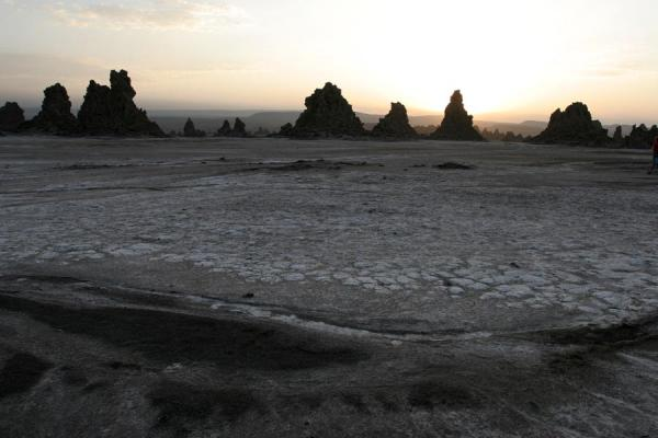 Picture of Lac Abbé (Djibouti): Sunrise at Lac Abbé: chimneys appearing from a dark night