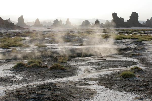 Foto de Steamy landscape with chimneys at Lac AbbéLac Abbé - Yibuti
