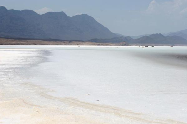 Shore of Lac Assal with mountains in the background | Lac Assal | Djibouti
