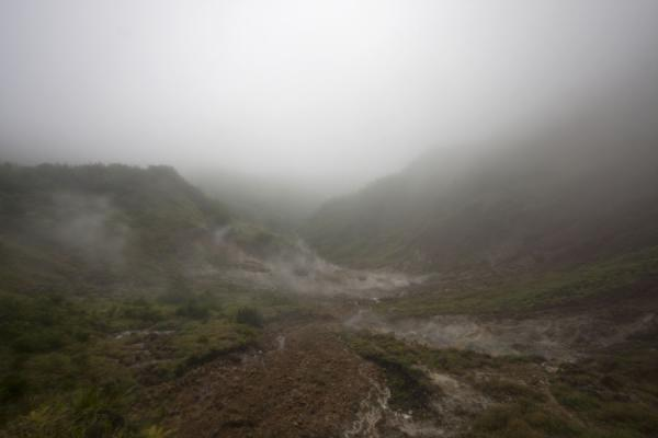 Picture of Valley of Desolation with steam coming from the earth
