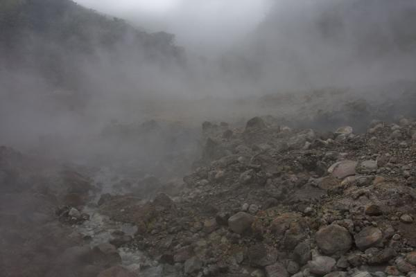 Steamy (and smelly) landscape at the Valley of Desolation | Boiling Lake | Dominica