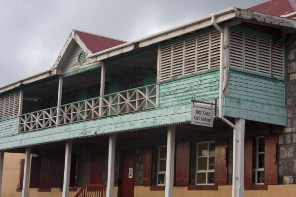 Foto de Large wooden balconies are common in RoseauRoseau - Dominica