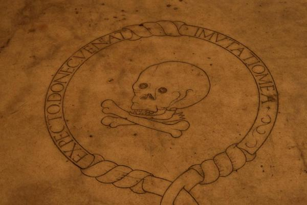 Picture of Skull depicted on tomb in the floor of Catedral Primada de las Américas