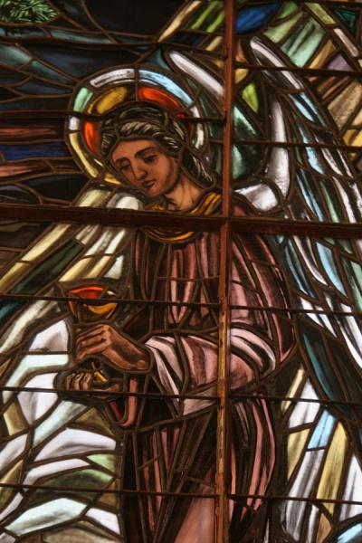 Picture of Stained glass angel in a window of the Catedral Primada de las Américas