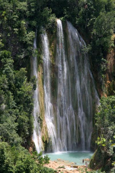 Picture of Limón waterfall (Dominican Republic): View of gracious Limón waterfall from a distance