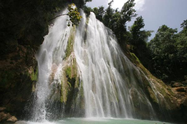 Picture of Limón waterfall (Dominican Republic): View of Limón waterfall from below