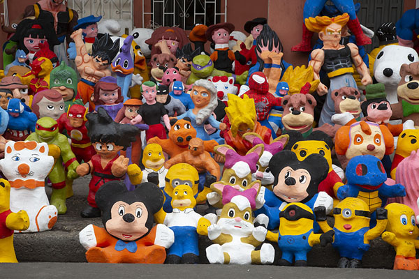 A rich variety of cartoon dolls for sale | Año viejo effigy dolls | Ecuador