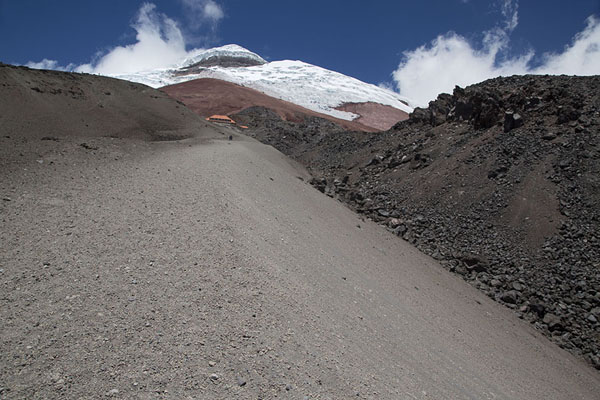 Picture of Slope of loose stones with refugio and summit of Cotopaxi - Ecuador - Americas