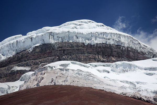 Looking up the top of Cotopaxi with glacier - 厄瓜多尔