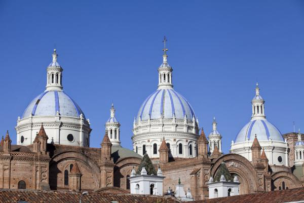 Foto van Light blue domes on the Catedral de la Inmaculada Concepción in Cuenca - Ecuador - Amerika