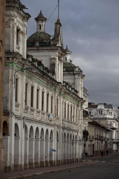 Picture of Benigno Malo street running off the central plaza of Cuenca with colonial buildings - Ecuador - Americas