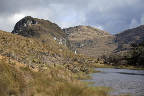 Mountains surrounding a lagoon in El Cajas | El Cajas National Park | Ecuador