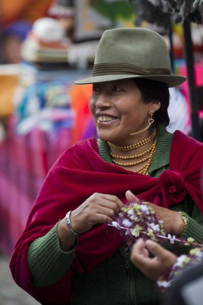 Picture of Otavalo market women (Ecuador): Smiling market woman in Otavalo