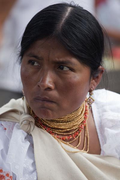 Picture of Otavalo market women (Ecuador): Woman at Otavalo market with serious look