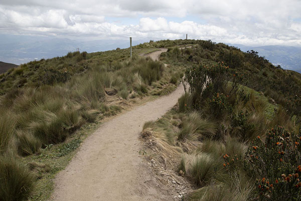 Photo de Lower slopes of Rucu Pichincha with trail through paramo landscape - l'Equateur - Amérique
