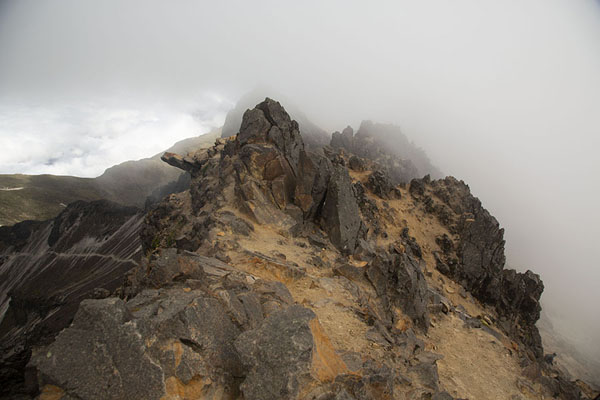 Foto van View from below the summit wrapped in cloudsRucu Pichincha - Ecuador