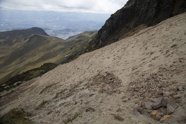 Trail running through a sandy patch on the slopes of Rucu Pichincha | Rucu Pichincha | Ecuador