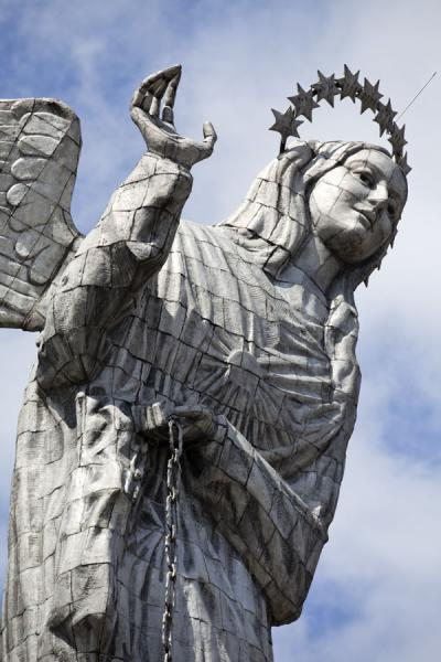Sympathetic Virgen de Quito waving at the city beneath her | Virgen de Quito | Ecuador