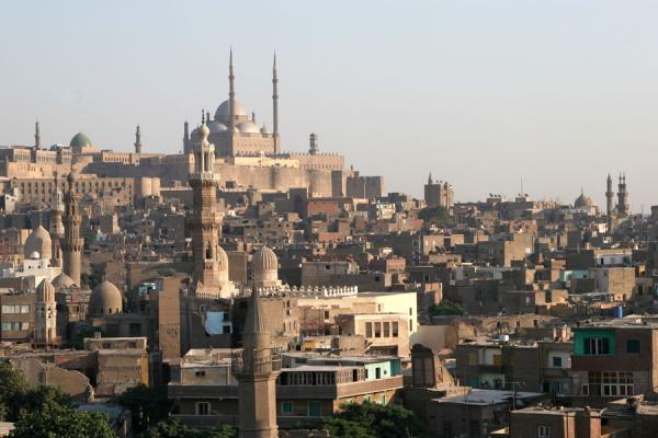 View towards the Citadel from the minaret of Al Maridani mosque | Al Maridani mosque | Egypt