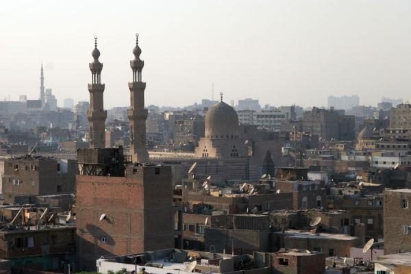 Minarets of Bab Zuweyla seen from the minaret of Al Maridani mosque | Al Maridani mosque | Egypt