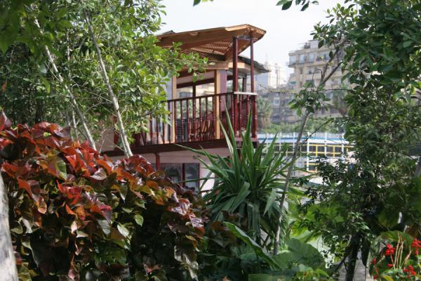 Part of the second floor of a houseboat seen through the garden | Houseboats | Egypt