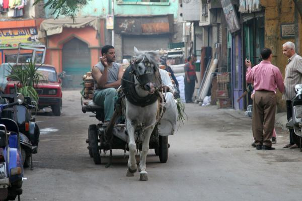 Man on horse-pulled cart | Darb al-Ahmar street scenes | Egypt