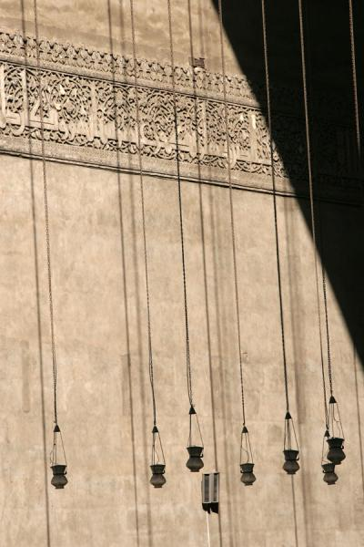Lamps hanging in an iwan of Sultan Hassan mosque | Sultan Hassan mosque | Egypt
