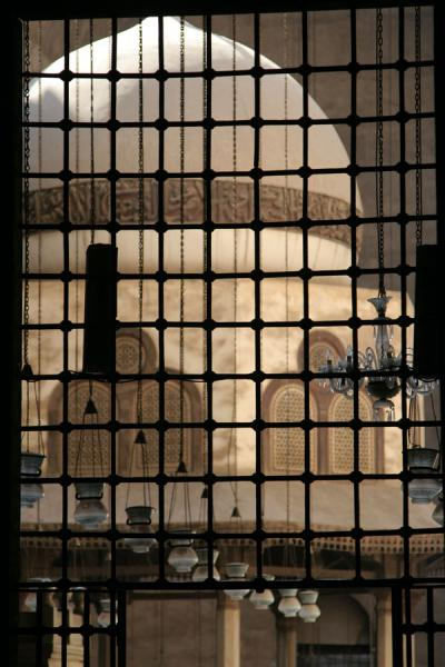 Picture of Dome behind lattice and lamps in Sultan Hassan mosque - Egypt - Africa