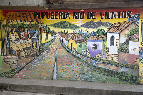 Picture of Pupusería mural in Apaneca depicting the highest town of the Ruta de las Flores - El Salvador - Americas