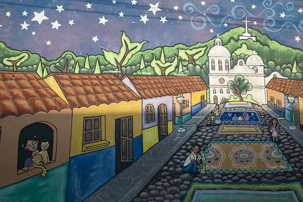 Mural with a colourful representation of Ataco | Concepción de Ataco | El Salvador