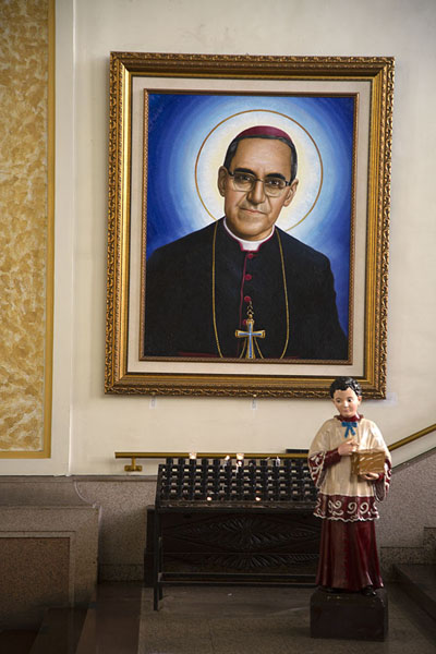 Painting of Oscar Romero, the Archbishop slain in 1980 | San Salvador Cathedral | El Salvador
