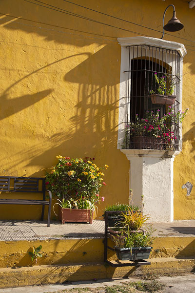 Foto van Detail of a house with flowers and a lanternSuchitoto - El Salvador