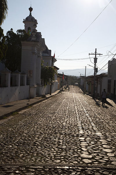 Early morning sun shining on the cobble stones of Suchitoto | Suchitoto | El Salvador