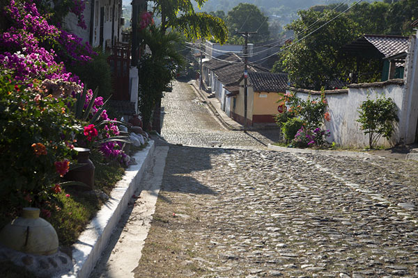 Cobble-stone street in Suchitoto with flowers | Suchitoto | El Salvador
