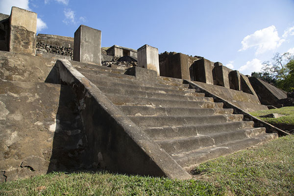 Picture of Stairs leading to the middle platform of the great pyramid of TazumalChalchuapa - El Salvador