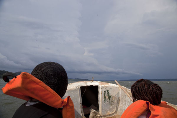 Picture of Kogo border crossing (Equatorial Guinea): Mother and daughter travelling with me on the motorboat to Kogo