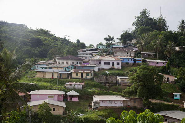 Hill with houses in Kogo | Kogo | Equatorial Guinea
