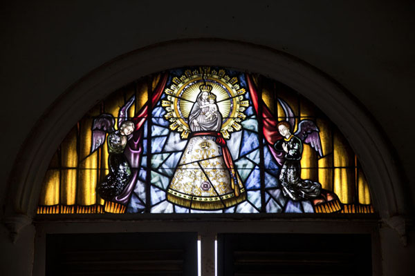 Stained glass window in the church of Kogo | Kogo | Equatorial Guinea