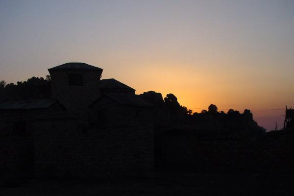 The silhouets of the monastery during sunset | Debre Bizen | Eritrea