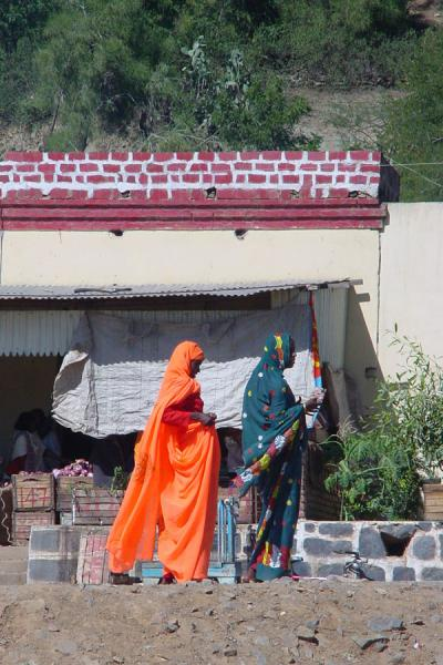 Picture of Brightly coloured dresses everywhere; this is near the bus station of GhindaEritrea - Eritrea